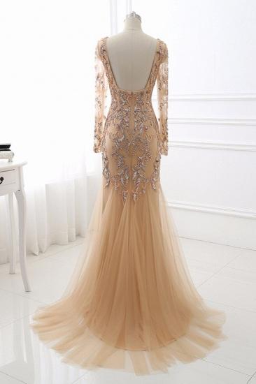 Elegant Tulle Appliques Mermaid Prom Dresses V-Neck Sleeveless Rhinestones Party Dresses On Sale_3
