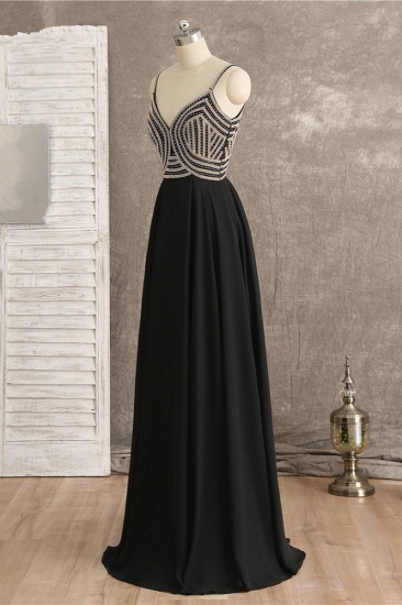 BMbridal Sexy Spaghetti Straps V-Neck Black Prom Dresses Sleeveless with Ruffles Beadings On Sale_4