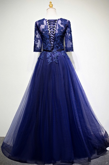 Elegant Jewel Dark Navy Tulle Ruffle Prom Dresses Long Sleeves Appliques Formal Dresses with Rhinestones_3
