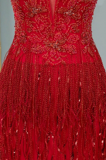 BMbridal Chic Tulle Straps V-Neck Burgundy Prom Dresses with Rhinestone Appliques Online_6