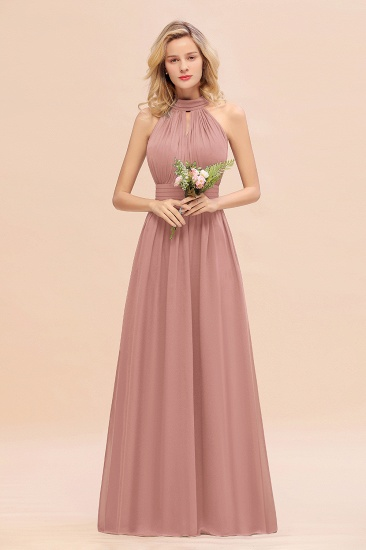 Glamorous High-Neck Halter Bridesmaid Affordable Dresses with Ruffle_50