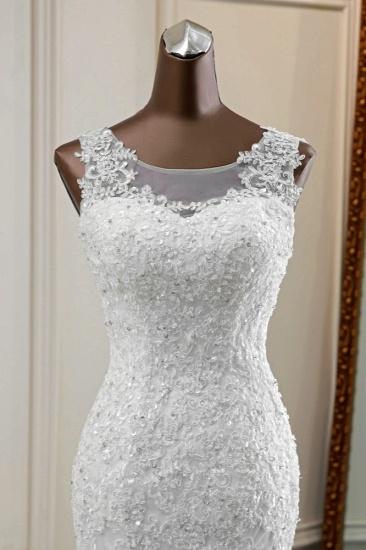 Stunning Jewel Sleeveless White Wedding Dresses White Mermaid Beadings Bridal Gowns_6