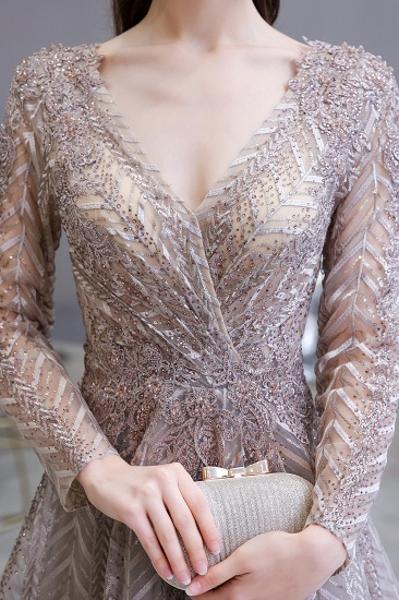 BMbridal Sexy V-Neck Long Sleeve Prom Dress Appliques A-Line Evening Gowns_7