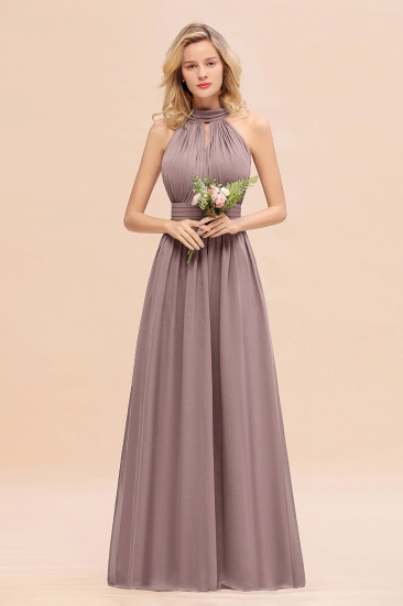 Glamorous High-Neck Halter Bridesmaid Affordable Dresses with Ruffle_37