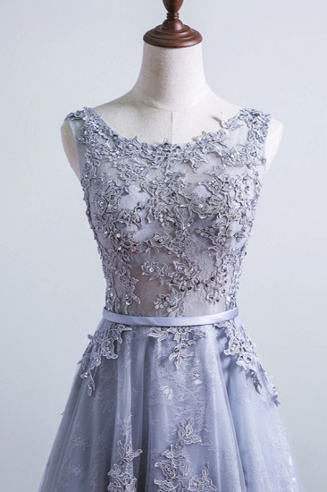 Elegant Jewel Tulle Lace Prom Dresses Sleeveless Appliques Ruffles Party Dresses On Sale_6