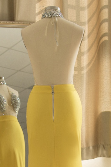 Sexy Yellow Halter Backless Prom Dress Long Mermaid With Crystals_6