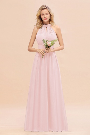 Glamorous High-Neck Halter Bridesmaid Affordable Dresses with Ruffle_3