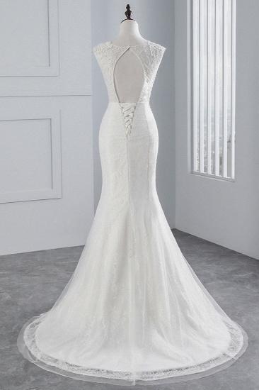 BMbridal Glamorous Jewel Sleeveless Rhinestone White Mermaid Wedding Dresses with Appliques_3