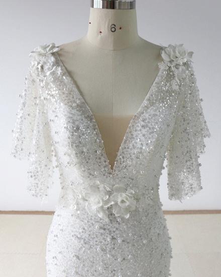 BMbridal Elegant Stunning Sequins White Tulle Wedding Dress Sweep Train Mermaid Short Sleeve Bridal Gowns On Sale_4