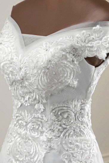 BMbridal Elegant Off-the-Shoulder Sleeveless White Mermaid Wedding Dresses with Beadings_7