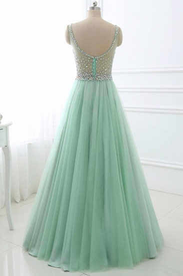 BMbridal Chic Tulle Jewel Sleeveles A-Line Prom Dresses with Rhinestones On Sale_3