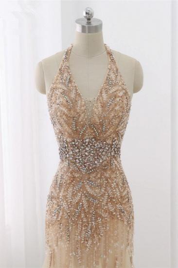 BMbridal Elegant Tulle Halter Rhinestones Mermaid Prom Dresses Sleeveless Appliques Online_5