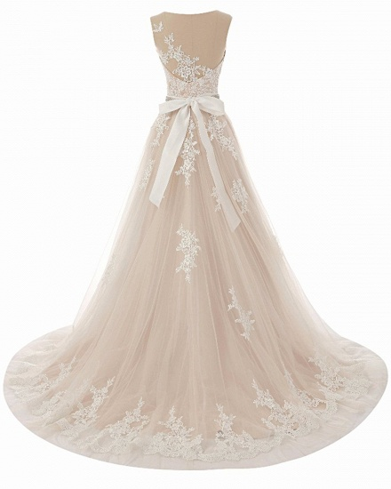 BMbridal Glamorous Creamy Tulle Round Neck Long Wedding Dress White Lace Applique Bridal Gowns On Sale_4