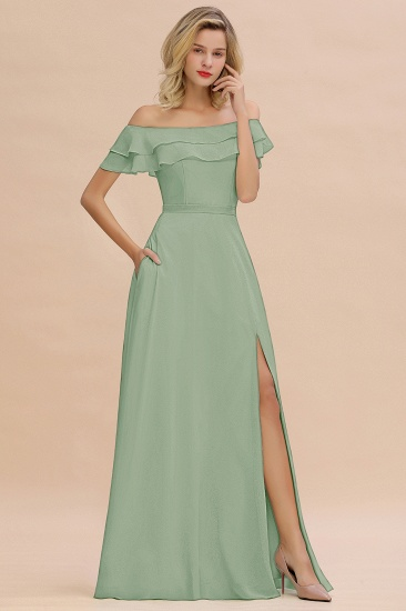 Exquisite Off-the-shoulder Slit Mint Green Bridesmaid Dress With Pockets_41