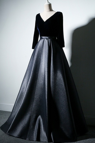 Elegant V-Neck Satin A-Line Prom Dresses Long Sleeves Party Dresses On Sale_5