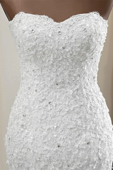 BMbridal Chic Strapless Lace Appliques White Mermaid Wedding Dresses with Beadings Online_6