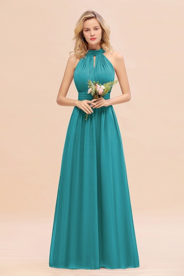 Glamorous High-Neck Halter Bridesmaid Affordable Dresses with Ruffle_32