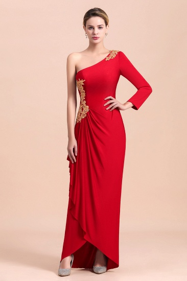 Chic One-Shoulder Long Sleeves Ruffle Mother of Bride Dresses with Appliques_4