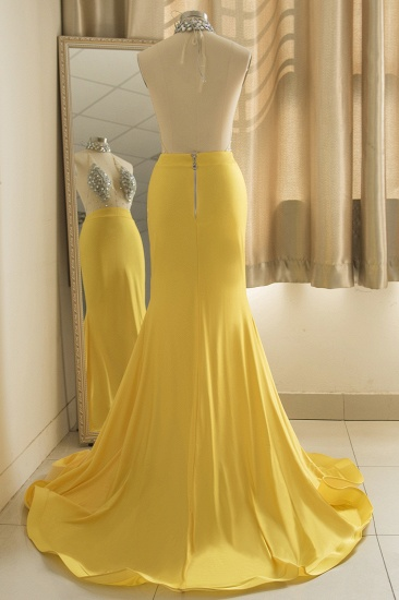 Sexy Yellow Halter Backless Prom Dress Long Mermaid With Crystals_1