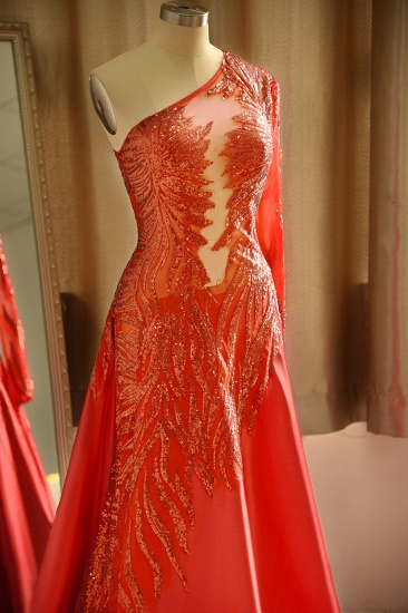 Chic One-Shoulder Red Sequined Prom Dresses One-Sleeve Sexy Party Dress On Sale_6