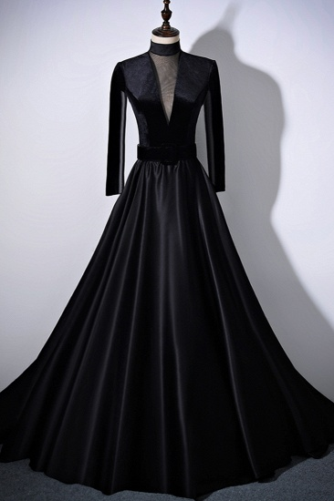 Chic V-Neck Ruffles Black A-Line Prom Dresses Long Sleeves Evening Dresses with Sash_2