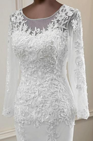 BMbridal Elegant Jewel Lace Mermaid White Wedding Dresses Long Sleeves Appliques Bridal Gowns_7