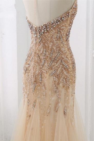 BMbridal Elegant Tulle Halter Rhinestones Mermaid Prom Dresses Sleeveless Appliques Online_6