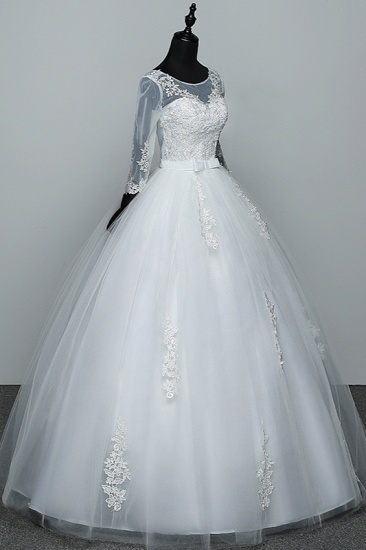 BMbridal Gorgeous Jewel Tulle Lace White Wedding Dresses 3/4 Sleeves Appliques Bridal Gowns On Sale_4