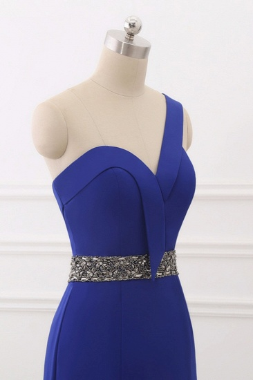 Chic One-Shoulder Sleeveless Mermaid Prom Dresses with Beadings Sash On Sale_6