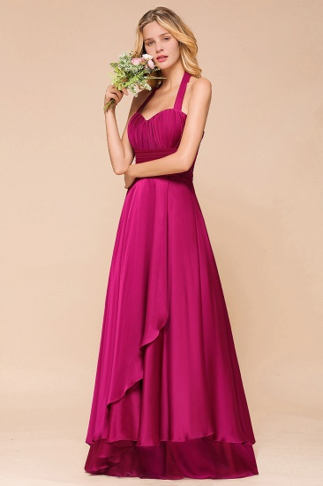 Fuchsia Halter Chiffon Bridesmaid Dresses Long Online_7