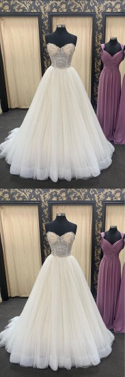 BMbridal Chic Ivory Sweetheart Long Lace Up Wedding Dress Crystal Appliques Bridal Gowns On Sale_3