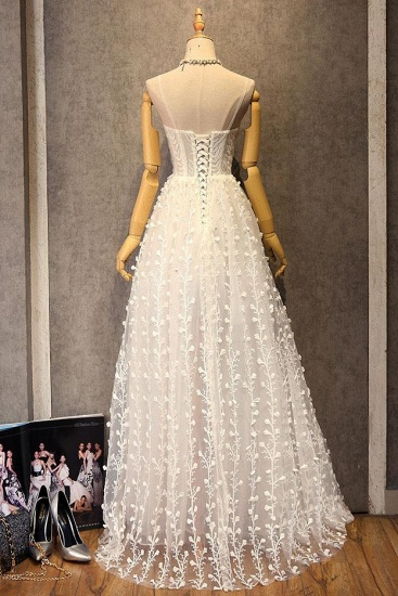 BMbridal Gorgeous Sweetheart Long Spaghetti Straps Wedding Dress Sleeveless Appliques Bridal Gowns On Sale_3
