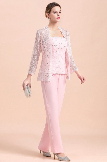 Elegant Strapless Appliques Mother of Bride Jumpsuit with Long Sleeves Wraps_5