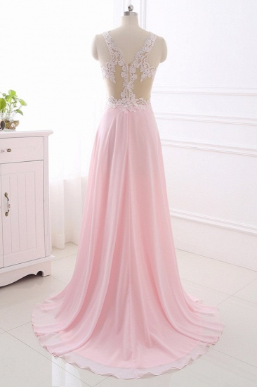 Elegant A-Line V-Neck Pink Chiffon Prom Dresses with Ruffles Online_3