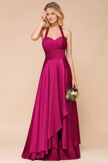 Fuchsia Halter Chiffon Bridesmaid Dresses Long Online_5