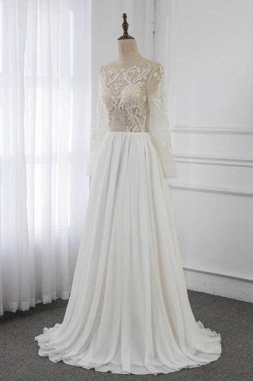 BMbridal Affordable Jewel Chiffon Ruffles Wedding Dresses Lace Top Long Sleeves Bridal Gowns Online_4