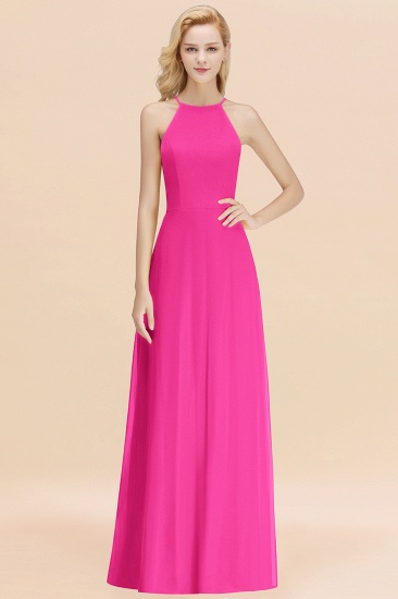 Modest High-Neck Yellow Chiffon Affordable Bridesmaid Dresses Online_9