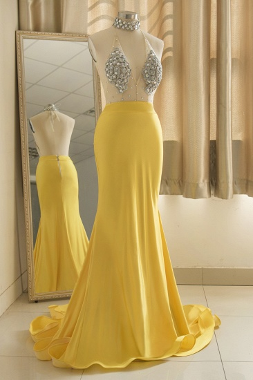 Sexy Yellow Halter Backless Prom Dress Long Mermaid With Crystals_3