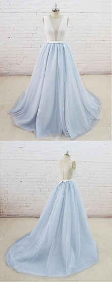 BMbridal Gorgeous Light Blue Tulle Lace Wedding Dress Sheer Back Summer Bridal Gowns On Sale_6