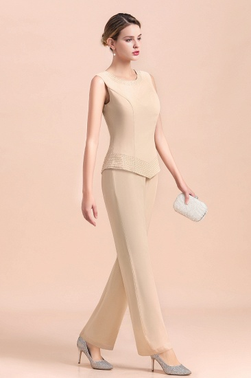 Champagne Long Chiffon Mother of the Bride Dress Two Pieces With Jacket_9