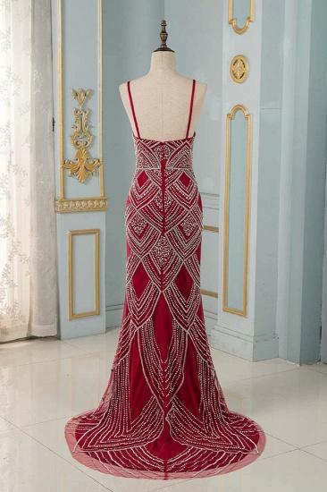 BMbridal Chic Spaghetti Straps Burgundy Mermaid Prom Dresses with Rhinestones_3