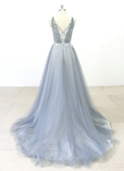 BMbridal Elegant Gray Tulle Round Neck Beach Wedding Dress Jewel Sweep Train Bridal Gowns On Sale_3