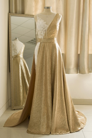 Stylish Jewel Gold Sequined A-Line Prom Dresses Sleeveless White Appliques Evening Dress with Beadings
