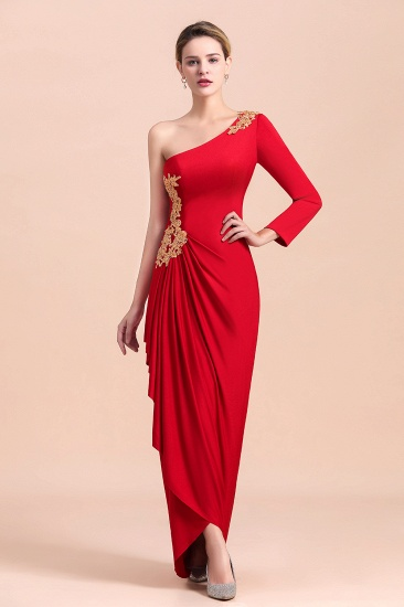 Chic One-Shoulder Long Sleeves Ruffle Mother of Bride Dresses with Appliques_7