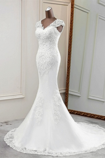 Luxury V-Neck Sleeveless White Lace Mermaid Wedding Dresses with Appliques_5