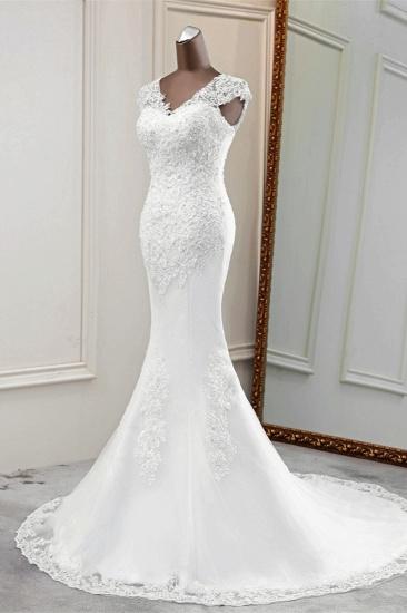 BMbridal Luxury V-Neck Sleeveless White Lace Mermaid Wedding Dresses with Appliques_5