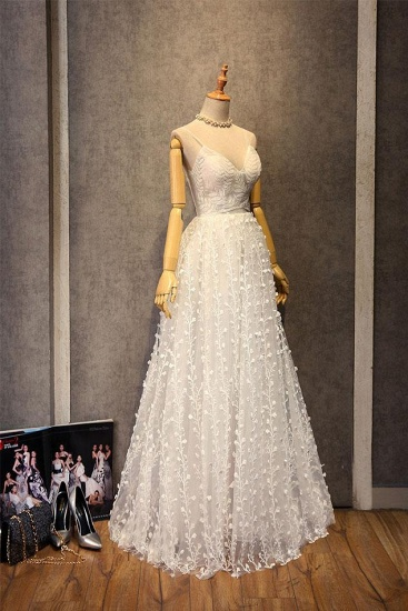 BMbridal Gorgeous Sweetheart Long Spaghetti Straps Wedding Dress Sleeveless Appliques Bridal Gowns On Sale_5