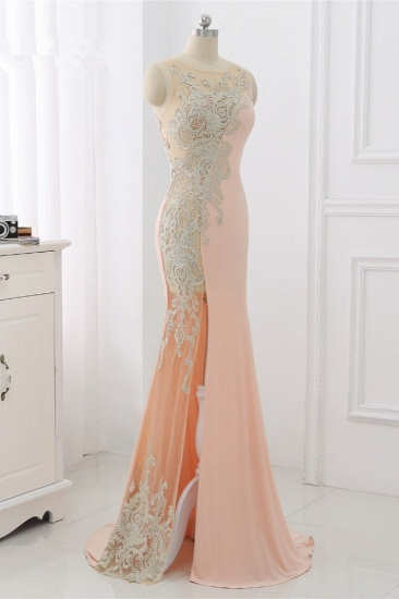 Affordable Jewel Appliques Sleeveless Prom Dresses with Front Slit Online_4