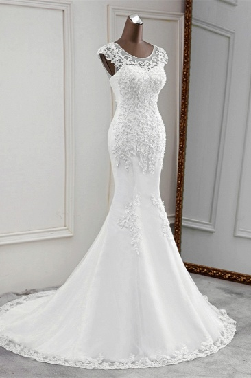 Gorgeous Jewel Sleeveless White Lace Mermaid Wedding Dresses with Appliques_4