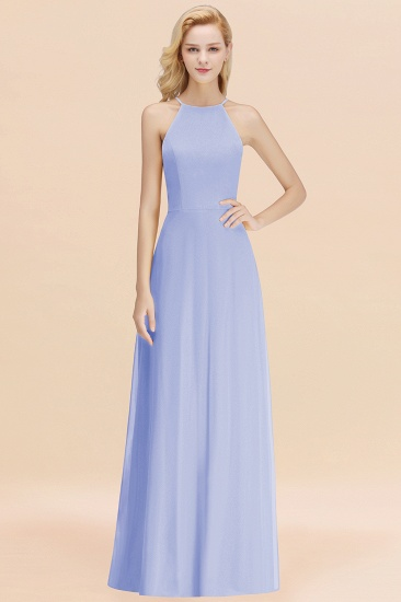 Modest High-Neck Yellow Chiffon Affordable Bridesmaid Dresses Online_22